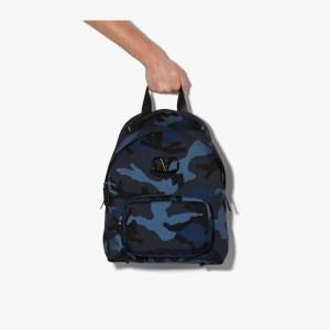 Valentino Mens Blue Camo Print Backpack