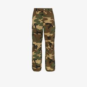 Purple Brand Mens Brown Camouflage Cargo Trousers