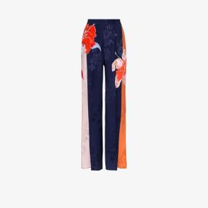 Etro Womens Blue Floral Print Palazzo Trousers