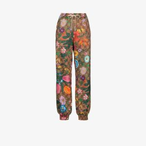 Gucci Womens Green Flora Gg Supreme Pattern Track Pants