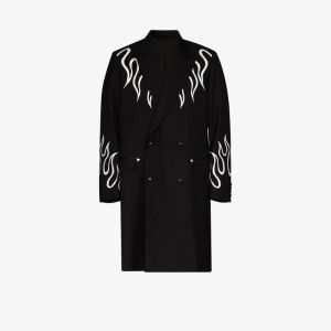 Iroquois Mens Black Flame Double-breasted Coat