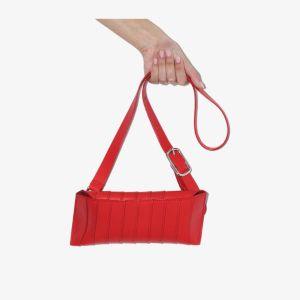 Venczel Womens Red V8s Stripe Leather Shoulder Bag