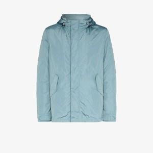 Yves Salomon Mens Blue Nylon Windbreaker Jacket