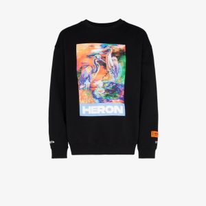 Heron Preston Mens Black Heron Print Long Sleeve T-shirt