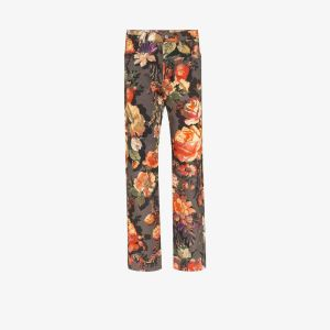 Dries Van Noten Womens Multicolour Floral Print Straight Leg Jeans