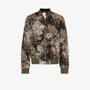 Dries Van Noten Mens Green Vinny Reversible Wool Bomber Jacket