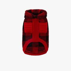 Polo Ralph Lauren Mens Red Cable Knit Check Dog Sweater