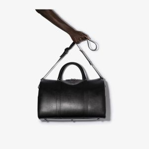Canali Mens Black Weekend Leather Holdall
