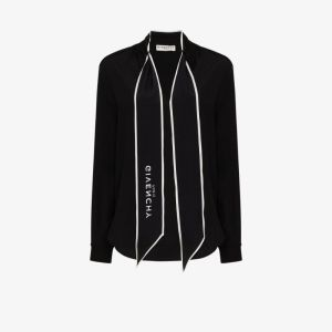 Givenchy Womens Black Scarf Detail Blouse
