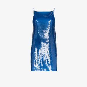 Eckhaus Latta Womens Blue Eckhaus Sequin Slip Drs Mini W Lw Bk