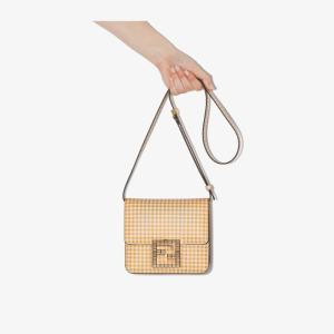 Fendi Womens Yellow And White Fab Gingham Shoulder Bag