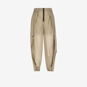 Issey Miyake Womens Green Air High Waist Wide Leg Trousers