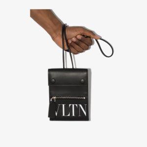 Valentino Mens Garavani Black Vltn Leather Smartphone Case