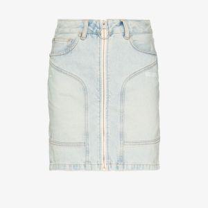 Off-white Womens Blue Front Zip Denim Mini Skirt
