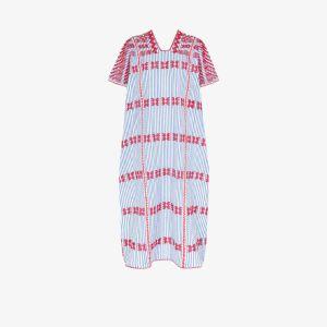 Pippa Holt Womens Blue Embroidered Striped Kaftan Dress