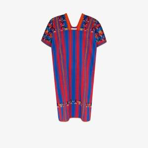 Pippa Holt Womens Embroidered Striped Cotton Kaftan Dress