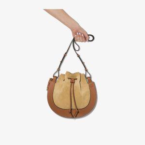 Loewe Womens Brown Horseshoe Suede And Leather Shoulder Bag