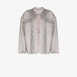 Maisie Wilen Womens Grey Snake Print Leather Jacket
