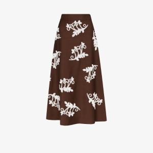 Prada Womens Brown Embroidered Knit Skirt