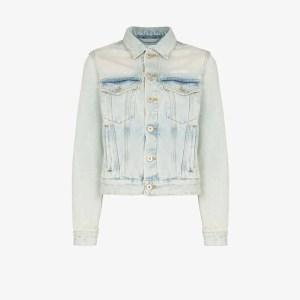 Off-white Womens Blue Bleached Boxy Denim Jacket