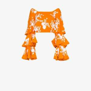 All Things Mochi Womens Orange Giannah Floral Embroidered Ruffled Blouse