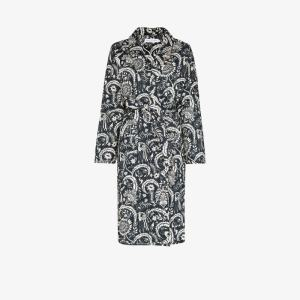 Desmond & Dempsey Womens Blue Zocalo Printed Robe