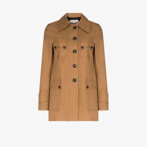 Victoria Beckham Womens Brown Safari Cotton Jacket