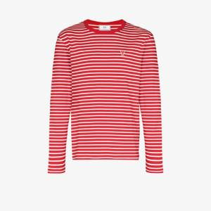 Ami Mens Red Ami Mens Red De Coeur Striped T-shirt