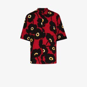 Ami Mens Black Floral Print Shirt