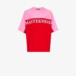 Mastermind Japan Mens Pink Panelled Logo-print T-shirt