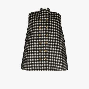 Balmain Womens Black Gingham Buttoned Cape