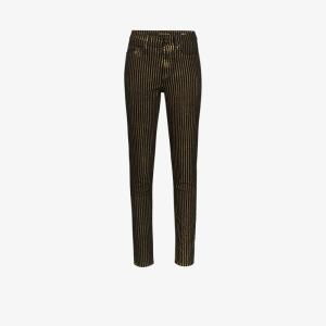 Saint Laurent Womens Black Metallic Striped Skinny Jeans