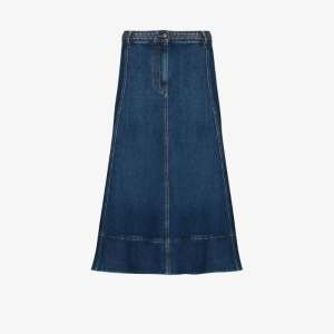Valentino Womens Blue Braided Waistband Denim Midi Skirt