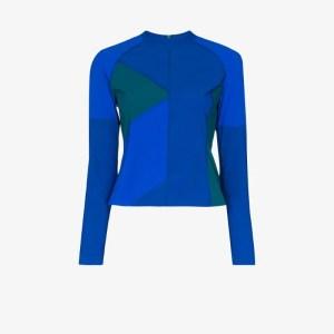 Lndr Womens Blue Malibu Colour Block Rashguard Top