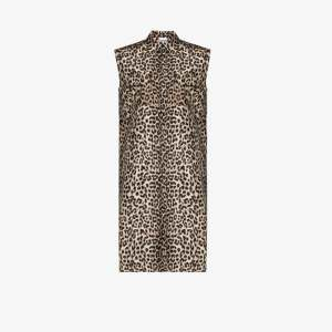 Ganni Womens Black Leopard Print Midi Dress