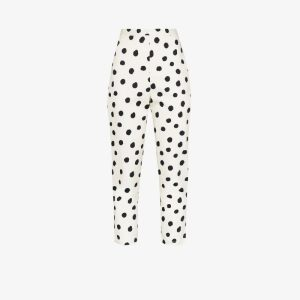 Adriana Degreas Womens White Slim Cropped Polka Dot Trousers