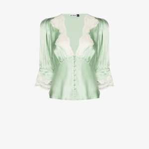 Rixo Womens Green Lace-trim Blouse