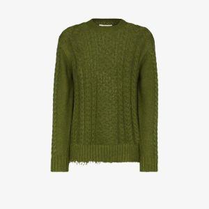 Tibi Womens Green Tibi Womens Green Nuage C/n L/s Cable Sweater Grn