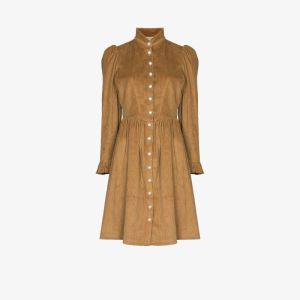 Batsheva Womens Brown Bat Grace Clr Bttn Dwn L/s Midi Drs Came