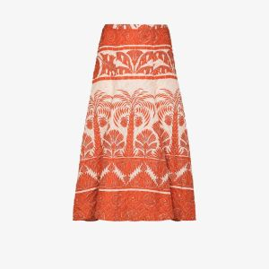 Johanna Ortiz Womens Orange Palm To Nadube Pleated Midi Skirt