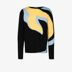 Av Vattev Mens Multicolour O'keeffe Intarsia Knit Sweater