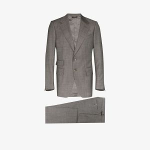 Tom Ford Mens Grey Single-breasted Two Piece Wool Suit