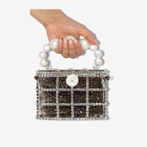 Rosantica Womens Grey Holli Cometa Crystal Pearl Bag