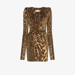 Alexandre Vauthier Womens Brown Leopard Print Bodycon Mini Dress