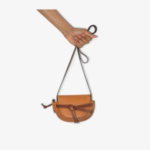 Loewe Womens Brown Gate Mini Leather Cross Body Bag