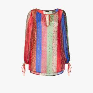 Etro Womens Blue Colour-blocked Paisley And Floral-print Blouse