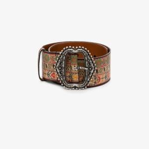Etro Womens Brown Etro Womens Brown Printed Belt