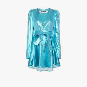 Rotate Womens Blue Emma Button-up Mini Dress