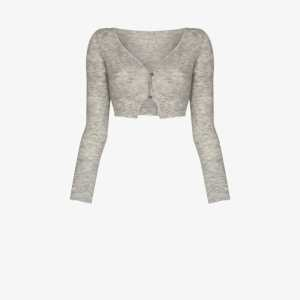 Jacquemus Womens Grey Alzou Cropped Wool Cardigan