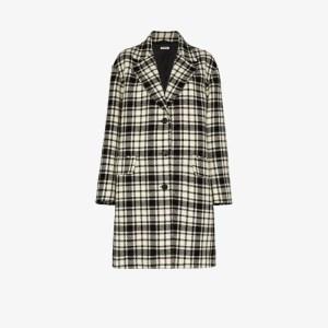 Miu Miu Womens Black Shetland Check Wool Coat
